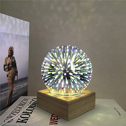 Zehui USB Rechargeable Colorful Sphere Light with Base for Bedside Bedroom Home Decor Magic Crystal Ball Lamp 5V 3W Colorful Fireworks