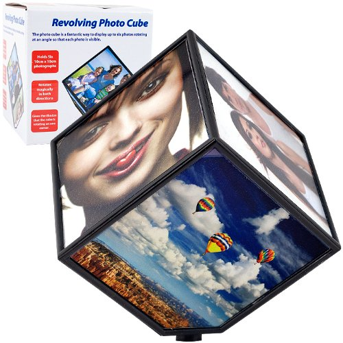 Revolving Photo Cube - Magically Displays 6 Photos - Revolving Library
