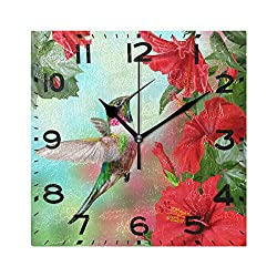Naanle 3D Stylish Hummingbird Blossoming Red Hibiscus Flower Print Square Wall Clock Decorative, 8 Inch Battery Operated Quartz Analog Quiet Desk Clock for Home,Office,School