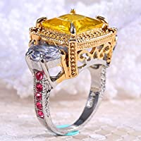 A.TATOON Charm 925 Silver Ring 7.9CT Citrine Wedding Ring Size 6-10 (10)