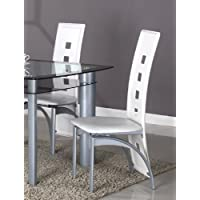 GTU Furniture Set of 2 Metal Contemporary Dining Room Chairs (White)