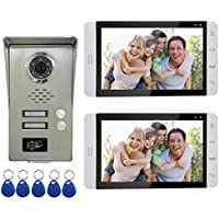 AMOCAM Wired Video Door Phone Intercom System, 7' Monitor, Full Aluminum Alloy Waterproof Camera, Support RFID Keyfobs Unlock, Video Doorbell Kits, for 2 Units Apartment House