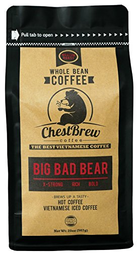 Chestbrew Whole Bean Coffee. Extra Strong Medium Roast Vietnamese Coffee - Big Bad Bear Premium 20 Ounce Bag