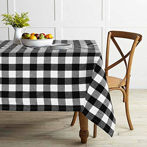 Lahome Farmhouse Buffalo Check Plaid Tablecloth - Grid Gingham Washable Cotton Linen Table Cover Kitchen Dining Room Restaurant Party Decoration (Rectangle - 55