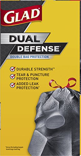 Glad Dual Defense Drawstring Large Trash Bags, 30 Gallon, 50 Count