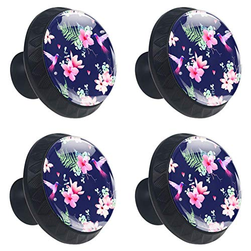 - Anmarco Navy Tropical Flowers and Hummingbird Drawer Knobs Pull Handles 30MM 4 Pcs Glass Cabinet Drawer Pulls for Home Kitchen Cupboard