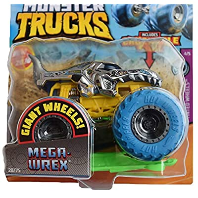 Hot Wheels Monster Trucks 1:64 Scale Mega Wrex 28/75 Includes Crushable Car, Gray with Blue Wheels: Toys & Games