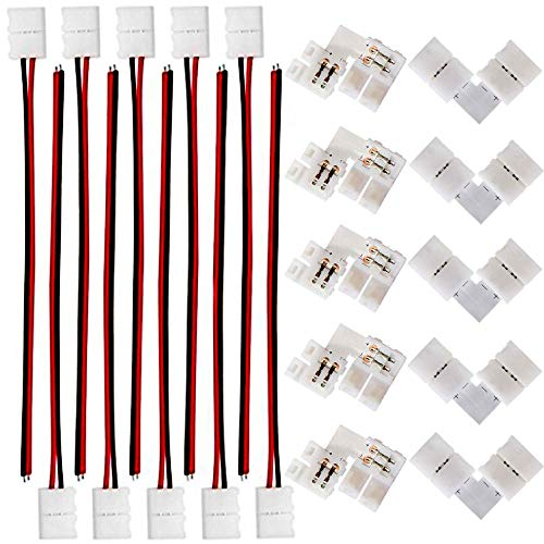 (FSJEE 8mm 3528/2835 LED Strip Light Connectors Kits with 10PCS L Shape 2 Pin Right Angle Corner Solderless Connector and 10PCS 2 Pin 8mm Wide LED Solderless Connect Wire for 2835 Single Color Strips)
