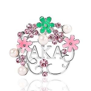 KINGSIN Pearl Crystal Flower Leaf Brooch for Women AKA Sorority Gifts Alpha Kappa Alpha Paraphernalia