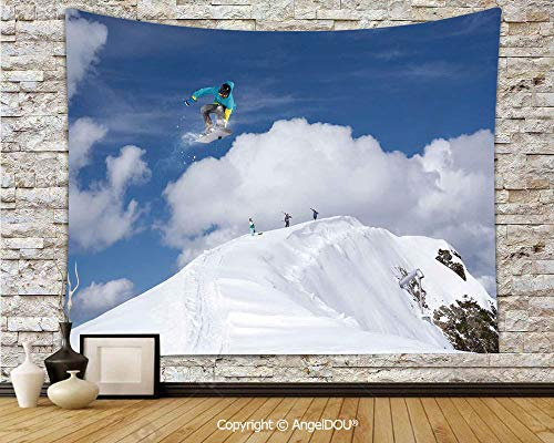 AngelDOU Winter Camping Tent Travel Mattress Tapestry Flying Snowboarder on The Mountaintop with Cloudy Sky Extreme Sports Theme Photo Polyester Thin Tapestry.W78.7xL59(inch)