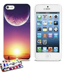 Carcasa Flexible Ultra-Slim APPLE IPHONE 5S / IPHONE SE de exclusivo motivo [Crepusculo] [Blanca] de MUZZANO  + ESTILETE y PAÑO MUZZANO REGALADOS - La Protección Antigolpes ULTIMA, ELEGANTE Y DURADERA para su APPLE IPHONE 5S / IPHONE SE