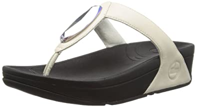 59c18906cfe1 FitFlop Women s Chada Leather Flip Flop Sandal Leather Microwobbleboard ( White ...