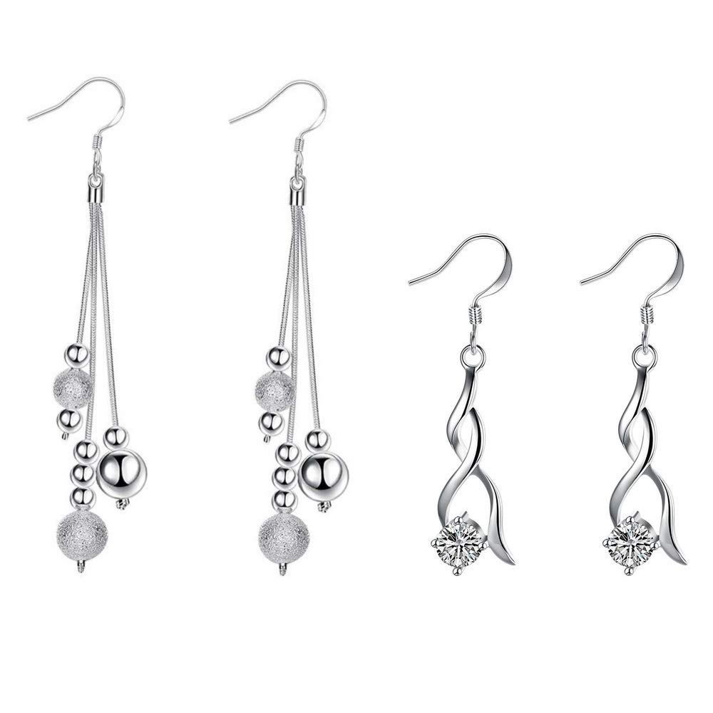 db6f9de09 Silver Drop Dangle Earrings, 1 Silver Plated and 1 White Gold Plated Set  with Sparkling