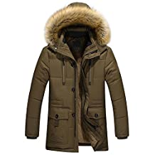 URBANFIND Men's Regular Fit Winter Faux Fur Hooded Zipper Parka Coats