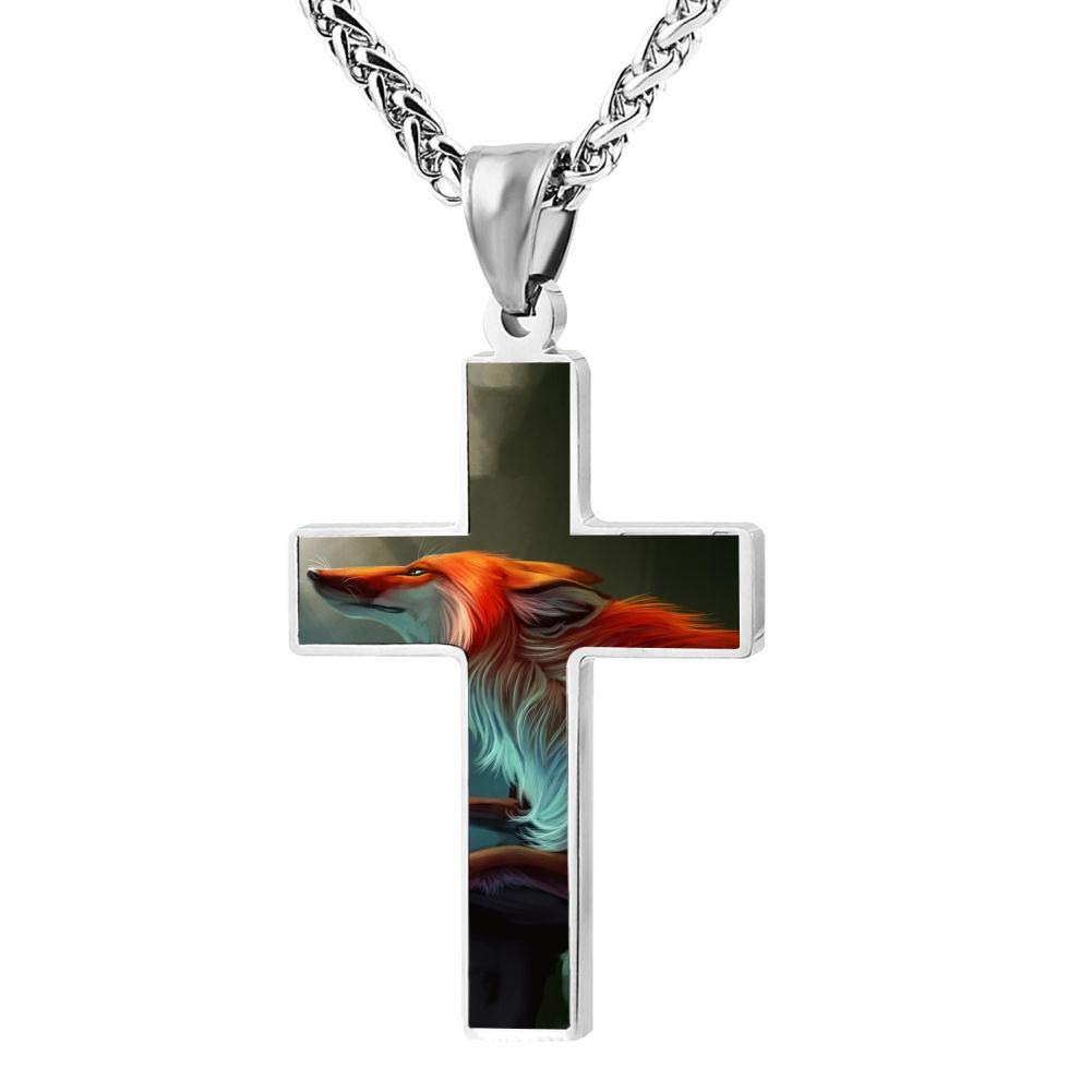 Brniogn Cross Necklace,Creative Fox Printed Graphic Print Pattern Prayer Christ Necklace Pendant Custom 24 Inch