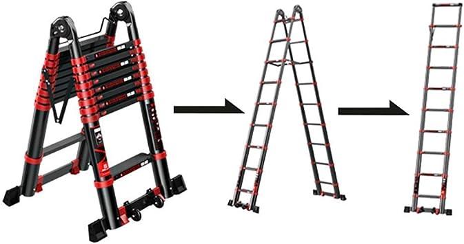 LADDERS Escalera Escaleras Telescópicas, Escalera Telescópica Portátil con Ruedas, Escaleras Telescópicas Plegables Antideslizantes Plegables para Usos Múltiples, Carga de 330 Lb,2.5M / 98.4Ft: Amazon.es: Bricolaje y herramientas