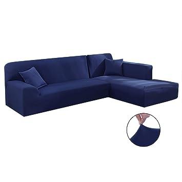 Iraza 2 Piezas Funda de Sofa Elástica Chaise Longue Brazo Largo Modelo Tunez Desde 190 a 300 cm (Armada, 190_x_230_cm)