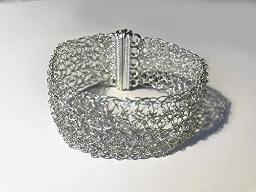 Wire Crochet Sterling Silver Cuff Bracelet