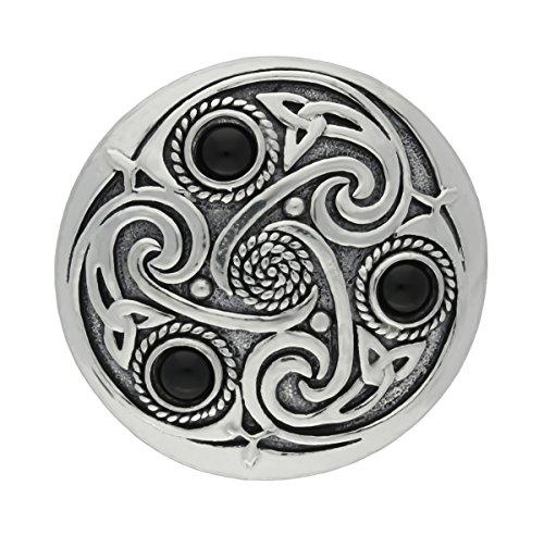 UNYKTOUCH Handmade Celtic Triskele 3 Black Onyx Semi-Precious Gemstones Pewter Brooch -