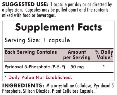 P-5-P (Pyridoxal 5-Phosphate, Vitamin B-6 Metabolite) 50 mg - Hypoallergenic 100ct