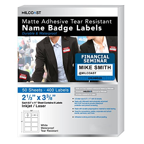 (Milcoast Matte Waterproof Adhesive Tear Resistant Name Badge Label Stickers - 2-1/3