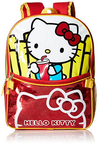 Hello Kitty Little Girls Burger and Fries 16 Inch Backpack with Lunch Kit, Various, One Size ()