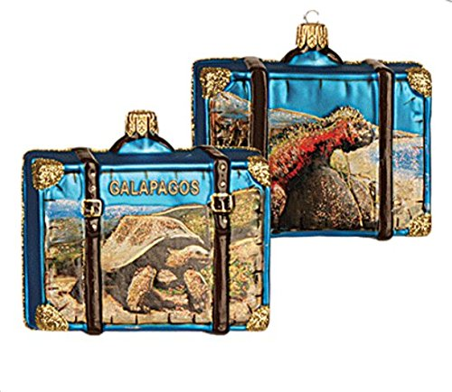 Galapagos Travel Suitcase with picture of Tortoise and Iguana Polish Glass Christmas Ornament Animal (Christmas Glass Animal Ornaments)