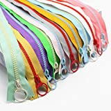 #9: YaHoGa 10PCS 16 Inch (40CM) 5# Plastic Resin Zippers with Lifting Ring Pull Close End Vislon Zippers for DIY Sewing Craft Bags Garment 16