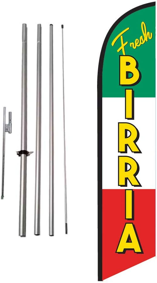 Amazon Com Birria Mexican Restaurant Advertising Feather Banner Swooper Flag Sign With Flag Pole Kit And Ground Stake Outdoor Flags Garden Outdoor