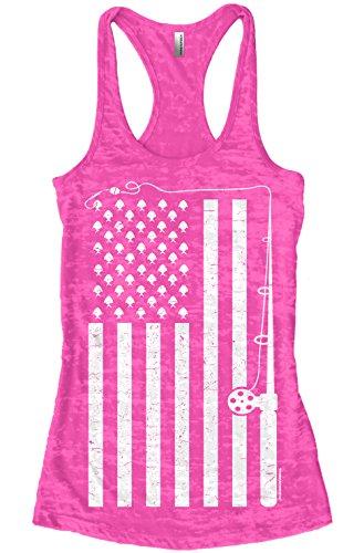 Threadrock Women's Fishing American Flag Burnout Racerback Tank Top XL Hot Pink