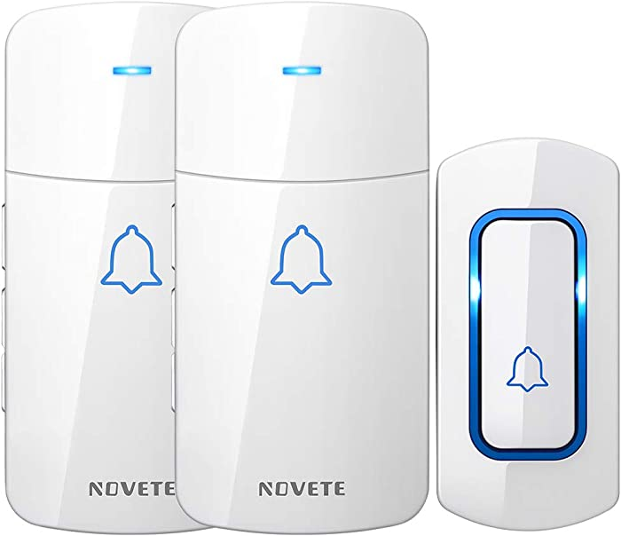Wireless Doorbell Kit, NOVETE Door Bell Operating at Over 1300 Feet, Waterproof Door Chime Kit with Two Plug-in Receivers, LED Indicators, 52 Melodies, Easy Setup for Home and Office (White)