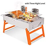 BBQ Grill Portable Charcoal Barbecue Folding Lightweight Barbeque Grills Tools for Outdoor Indoor Garden Backyard Cooking Camping Hiking Beach Picnics Tailgating Backpacking