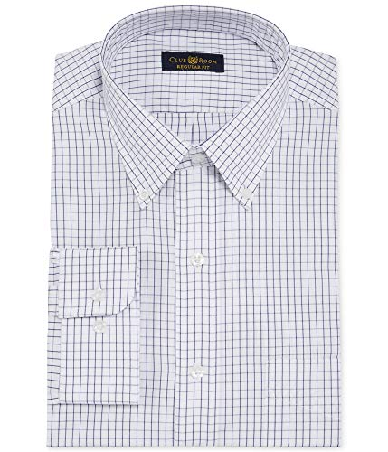 - Club Room Estate Classic-Fit Wrinkle Resistant White and Blue Tattersall Dress Shirt (White and Blue, 15.5X34-35)