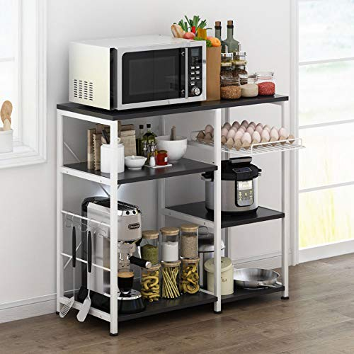 Mr IRONSTONE Kitchen Baker's Rack Utility Storage Shelf Microwave Stand 3-Tier+3-Tier Table for Spice Rack Organizer Workstation (35.5'' Dark Brown) by Mr IRONSTONE (Image #2)