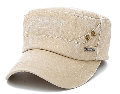 ChezAbbey Men's Breathable Washed Cotton Solid Brim Flat Top Cap Distressed Adjustable Cadet Classical Hat with Copper Nail Embroidered