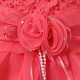 Richie House Girls\' Layered Dress with Rosette and Pearl Accents RH0918-E-7/8-FBA, Coral, Size 7/8