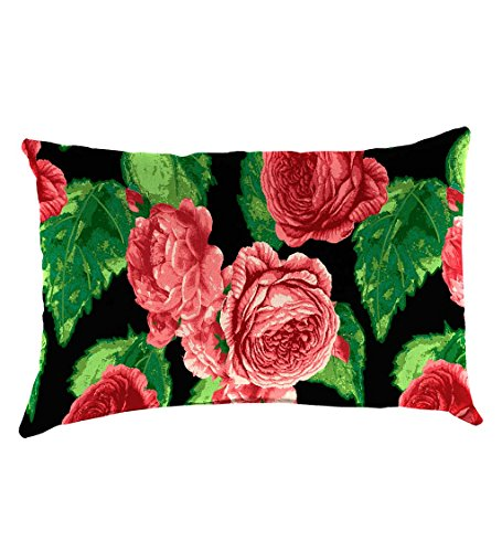 Classic Polyester Decorative Outdoor Lumbar Throw Pillow, 19'' x 12'' x 5.5'' - Cabbage Rose