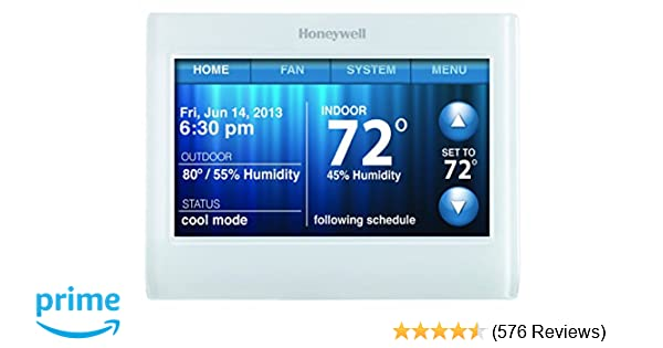 honeywell th9320wf5003 wi-fi 9000 color touch screen programmable thermostat,  3 5 x 4 5 inch, white, 'requires c wire