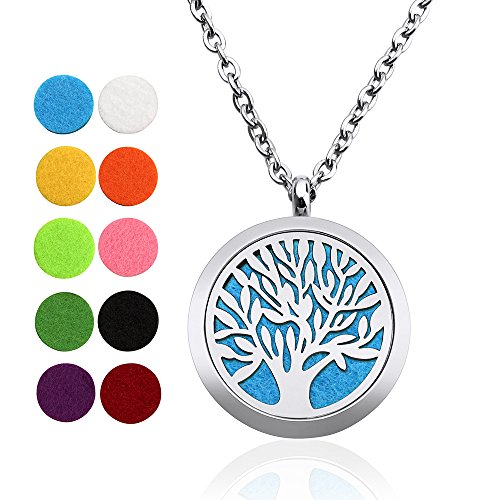 Silver Pendant Boxes Chain Cotton - Aromatherapy Essential Oil Diffuser Necklace GOURAML Pendant Locket Jewelry Girls Women Gift Set Hypo-allergenic 316L Surgical Grade Stainless Steel 24 Inch Chain and 10pcs Washable pads(Tree Of life)