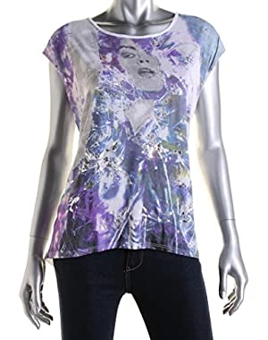 Guess Women's Short Sleeve Hi Low Photoreal Tee