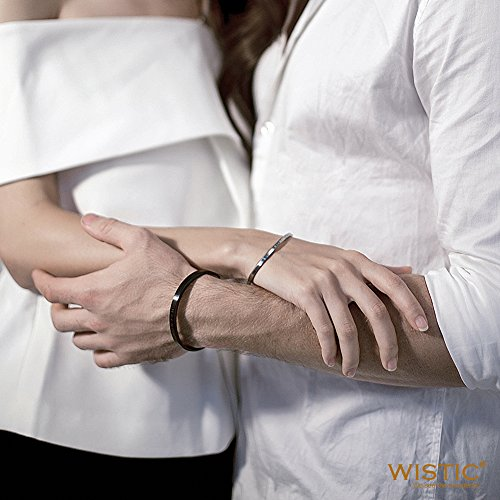 Stainless Steel Gold Plated Adjustable His and Her Matching Set Cuff Bracelet for Couple (NSB1391STCP Free Engraving) by Wistic (Image #2)