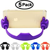 5 Pack, Cell Phone Tablet Holder, Honsky® Thumbs Up Multi-angle Cute TPU Plastic Universal Flexible Phone Tablet Bed Desk Stand for Kitchen, Office, Bedroom, Bathroom, for Apple iPad Mini 4 3 2 iPhone 6/6S Plus 6+ 5C 5/5S, 4/4S  Samsung Galaxy S 7 Edge S 6 Edge Note 5 4 S 5, LG G3 G4 V10, Microsoft Nokia Lumia 950 830, HTC One M9 M8 Desire 816, Sony Xperia Z3 Compact, Motorola Moto G Nexus 6 Google Nexus 6P OnePlus 2 Blackberry -Blue, Light Red, Black, White, Green Color