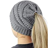 Huiyuzhi Women's Trendy Warm Chunky Cable Knit BeanieTail High Bun Ponytail Beanie Hat Cap (One Size, Grey)