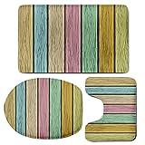 3 Piece Bath Mat Rug Set,Pastel,Bathroom Non-Slip Floor Mat,Colorful-Old-Wooden-Planks-Timber-Texture-Rustic-Farmhouse-Country-Home-Decor-Print-Decorative,Pedestal Rug + Lid Toilet Cover + Bath Mat,Mu