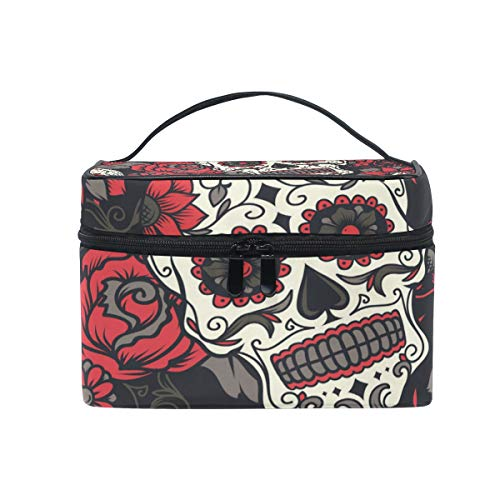 Travel Cosmetic Bag Halloween Sugar Skull Toiletry Makeup Bag Pouch Tote Case Organizer Storage For Women Girls ()