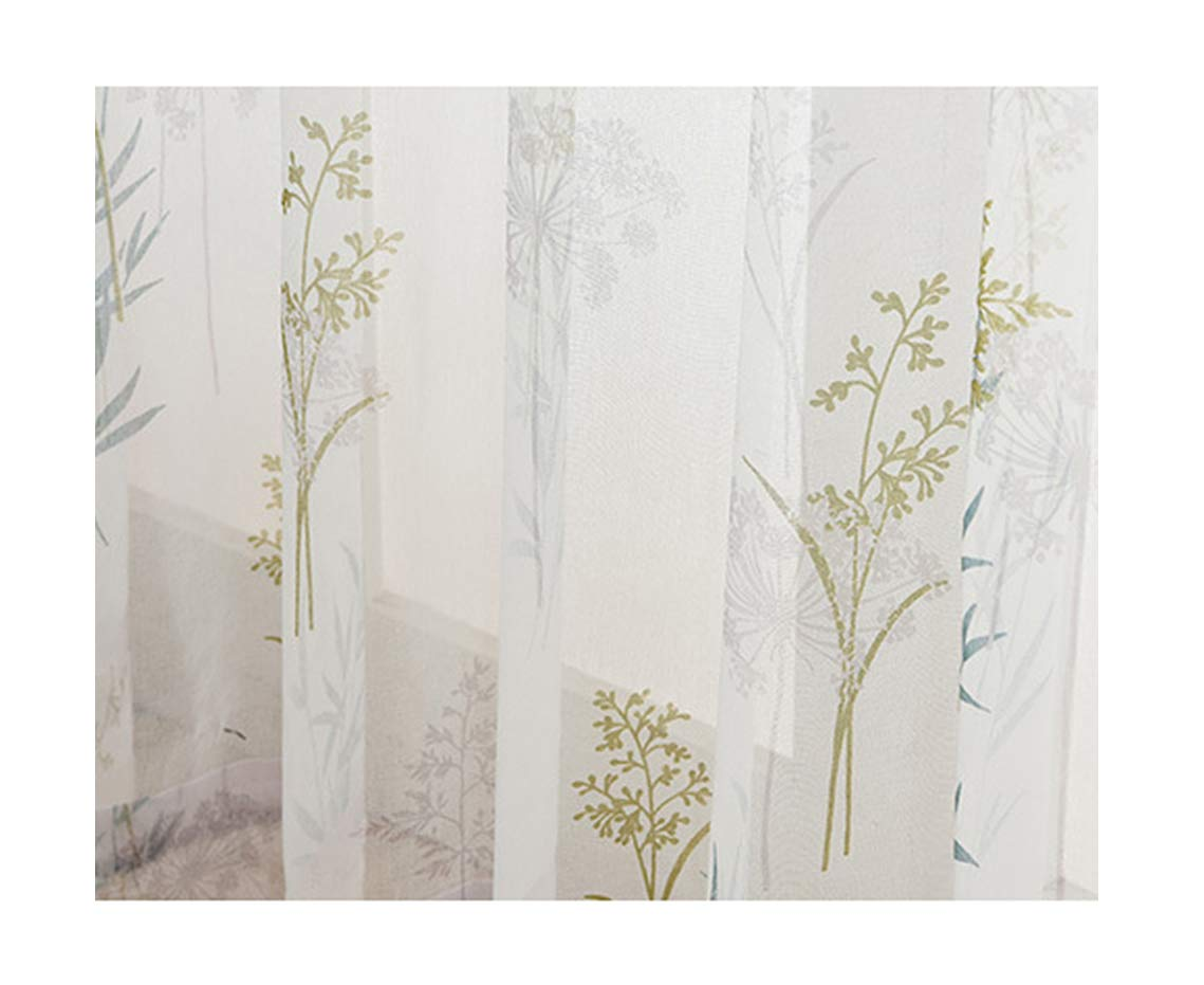 ASide BSide Willow Foliage Printed Rod Pocket Top Lodge Style Breathable Window Decoration Sheer Curtains For Child Room Houseroom and Sitting Room (1 Panel, W 52 x L 104 inch, White)