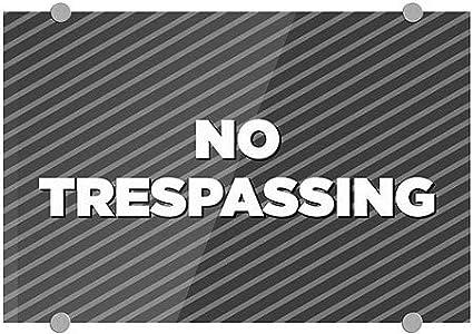 5-Pack 18x12 No Trespassing Stripes Gray Premium Acrylic Sign CGSignLab