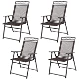 Set of 4 Patio Folding Sling Chairs Steel Textilene Camping Deck Garden Pool New
