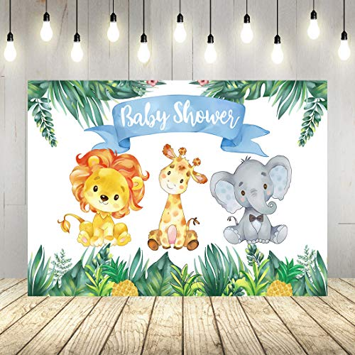 - Little Prince Baby Shower Banner 7x5ft Tropical Jungle Baby Shower Backdrop Cute Elephant Lion Giraffe Watercolor Animal Photography Decorations Background Vinyl