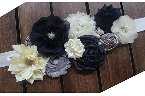 Maternity pregnancy sash for Mon to be baby shower sash flower sash (Navy grey)